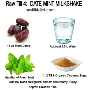 raw till 4 Day Two Breakfast Date Mint Milkshake