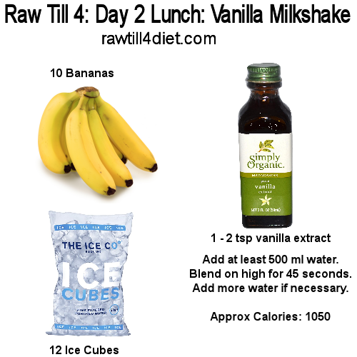 raw till 4 Day Two Lunch Vanilla Milkshake